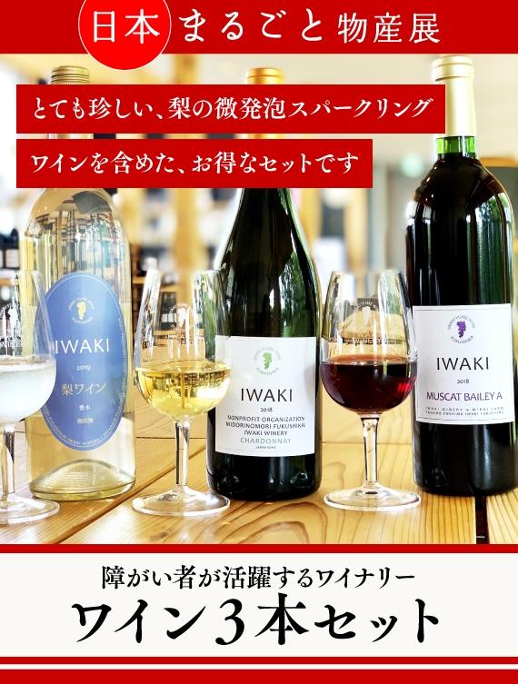 日常を彩る少し特別な日本ワイン いわきワイナリー 梨、白、赤の3本セット(国産)【送料込み】【2020よい仕事おこしフェア】【酒・ジュース・飲料】特定非営利活動法人みどりの杜
