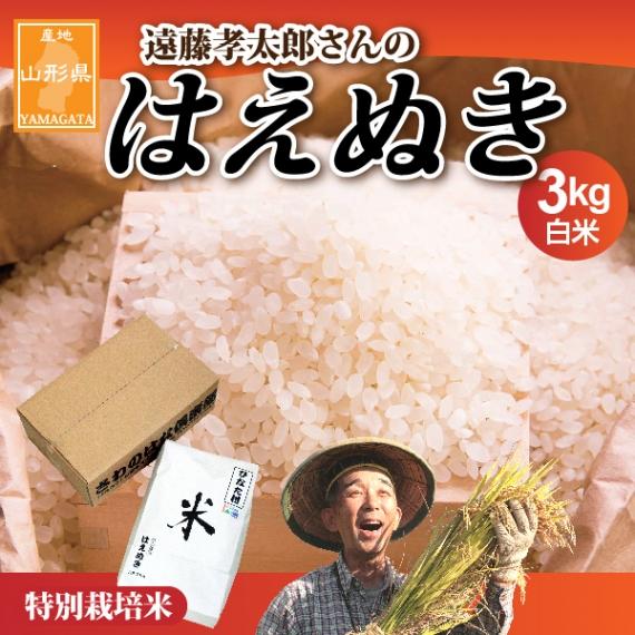 山形県産【遠藤孝太郎さんの特別栽培米はえぬき】白米3kg