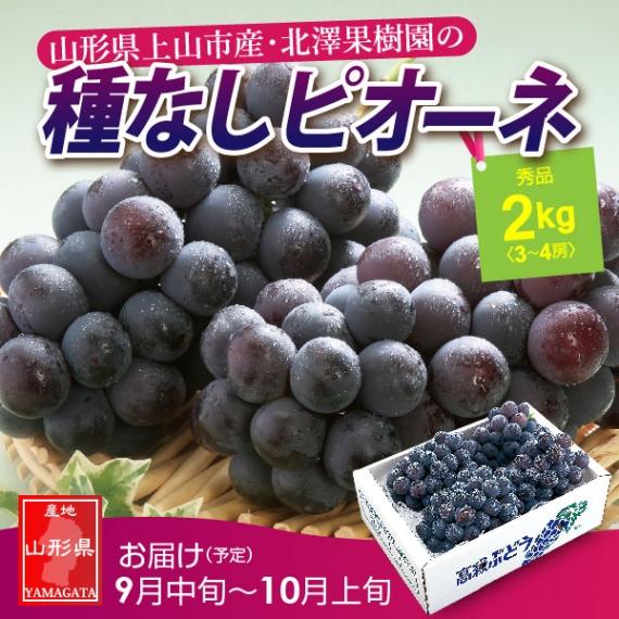 山形県産「北澤果樹園の」種なし大粒ビオーネ2kg(秀品3〜4房)