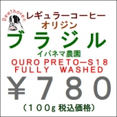 ブラジル Ipanema OURU PRETO Fully Washed S-18 100g 豆 そのまま