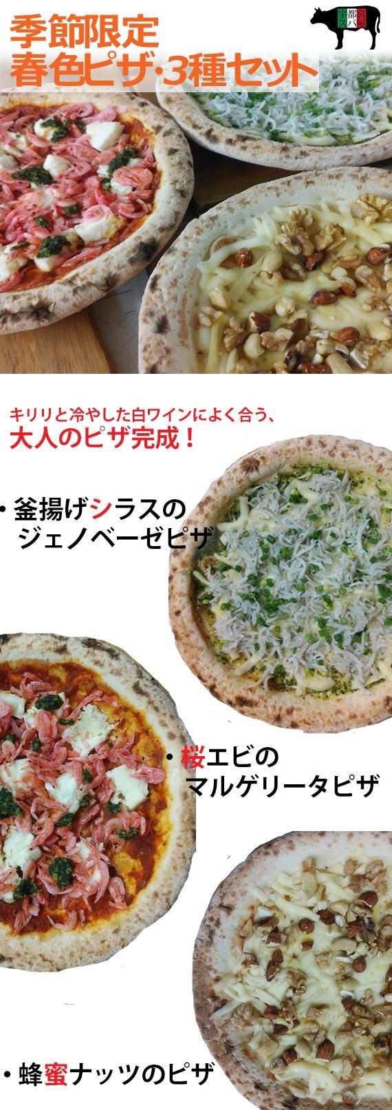 【手伸ばしナポリ生地】6月の特選ピザセット〜シラス・桜エビ・蜂蜜ナッツ〜