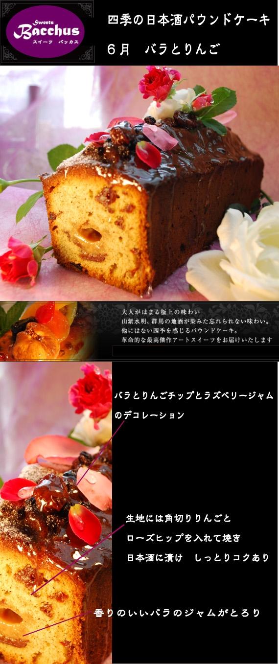 【宝石ケーキ】 熟成日本酒パウンドケーキ 絶品「りんごとばらの極上パウンドケーキ Lサイズ」18切分*群馬の酒麹ケーキ