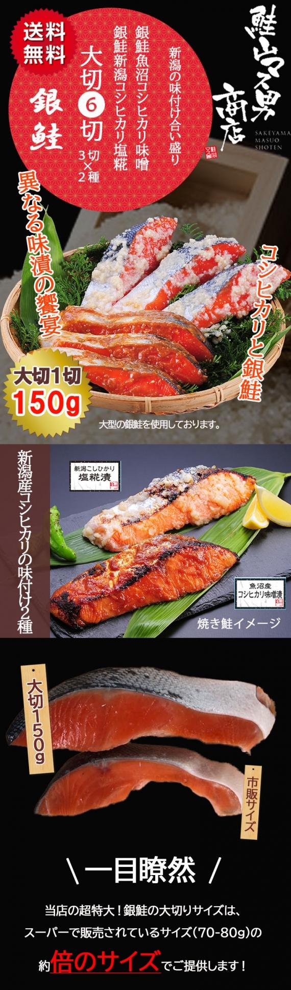 大切り銀鮭の新潟産コシヒカリ2味6切【送料無料】