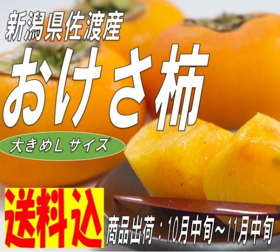 【送料込】新潟県 佐渡産 おけさ柿 Lサイズ18玉 秋のフルーツ とろけるような甘さ  数量限定 期間限定