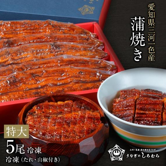 三河一色産 炭火焼き 手焼き 活うなぎ  特大うなぎ蒲焼5尾入り【漬魚・魚加工品】
