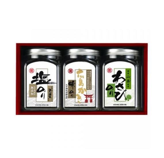 【お歳暮・お中元・手土産・ご贈答に】ご当地味付け海苔3本セット(わさび、かき、塩)【乾物・缶詰・瓶詰・調味料】