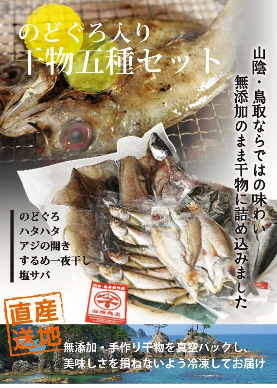 【干物セット】 高級魚のどぐろの干物2枚入り!無添加・天日干し山根商店のお得な干物セット 5種16枚入り!