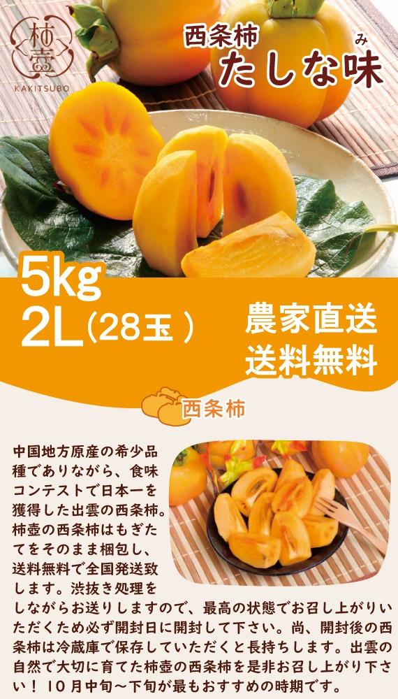 【送料無料】西条柿 たしな味 5kg 2L(28玉)【フルーツ】