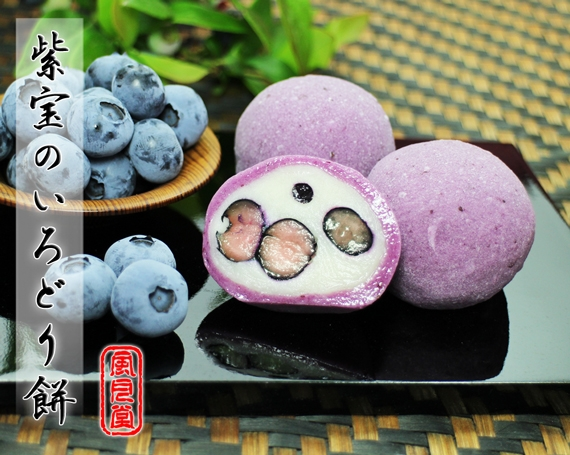 紫宝のいろどり餅 ヨーグルトが1.5倍で美味しさUP!〜瀬戸のブルーベリーを包んだ瑞々しいお菓子〜 8個入り【父の日2020】【スイーツ・和菓子】