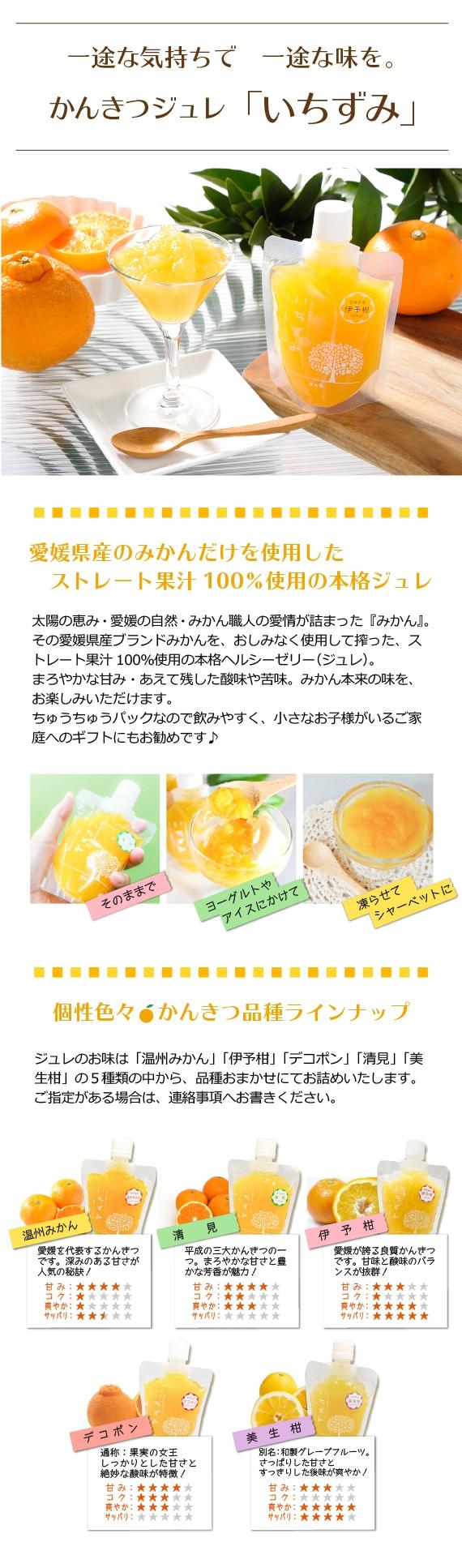 愛媛県産 こだわりみかんジュレ『いちずみ』(8個入り) 化粧箱入り・ちゅうちゅうゼリー