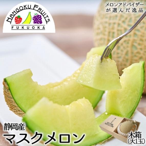 【送料無料】静岡マスクメロン 大1玉(木箱) 【贈答人気】