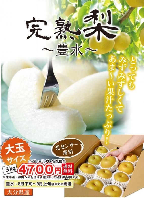 <あま〜くて、果汁たっぷり!>★完熟 梨(幸水・豊水) 3kg★長崎県産